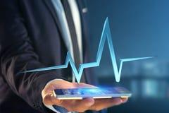 linea del battito cardiaco della rappresentazione 3d su un'interfaccia futuristica Fotografia Stock