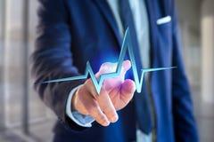 linea del battito cardiaco della rappresentazione 3d su un'interfaccia futuristica Immagine Stock