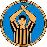 Linea del cerchio del segnale manuale dell'arbitro di football americano mono Fotografia Stock Libera da Diritti