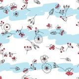 Linea del fiore un certo modello senza cuciture orizzontale della nuvola pastello di colore royalty illustrazione gratis