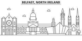 Linea del nord illustrazione di architettura di Belfast, Irlanda dell'orizzonte Paesaggio urbano lineare con i punti di riferimen Immagine Stock Libera da Diritti