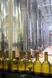 Linea del trasportatore per vino imbottigliante in bottiglie Fotografie Stock