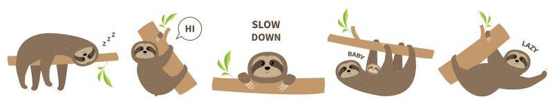 Linea dell'insieme dell'icona di bradipo Madre con il bambino Carattere pigro sveglio di kawaii del fumetto Testo di rallentament royalty illustrazione gratis