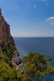 Linea della costa con le rocce verticali Fotografia Stock Libera da Diritti