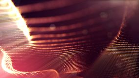 Linea della forma delle particelle e griglia della superficie rappresentazione 3d Fondo dorato della fantascienza delle particell royalty illustrazione gratis