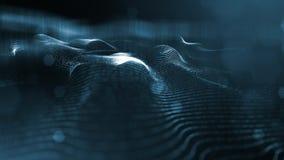Linea della forma delle particelle e griglia della superficie rappresentazione 3d Fondo della fantascienza delle particelle d'ard illustrazione di stock