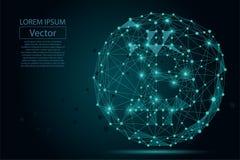 Linea della poltiglia e punto astratti Bitcoin Illustrazione di affari di vettore Immagini Stock