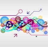 Linea delle icone delle icone dell'illustrazione Immagini Stock Libere da Diritti