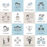 Linea delle icone di lavoro di squadra piana Immagini Stock Libere da Diritti