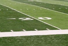 linea delle yard 20 su un footballfield Fotografia Stock Libera da Diritti