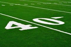 Linea delle yard 40 sul campo di football americano Fotografia Stock Libera da Diritti