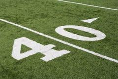 Linea delle yard 40 sul campo di football americano Immagine Stock Libera da Diritti