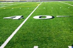 Linea delle yard 40 sul campo di football americano Fotografie Stock