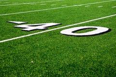 Linea delle yard 40 sul campo di football americano Fotografia Stock