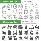 Linea di addestramento e di forma fisica ed icone semplici per il web e la progettazione mobile Fotografia Stock Libera da Diritti