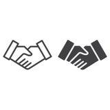 Linea di affare della stretta di mano ed icona solida Immagine Stock Libera da Diritti