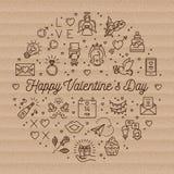 Linea di amore delle icone del biglietto di S. Valentino simboli, infographics del cerchio, carta d'avanguardia del cartone illustrazione di stock