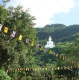 Linea di bandiera del tempio davanti a grande Buddha bianco sulla montagna verde sotto cielo blu Fotografie Stock Libere da Diritti