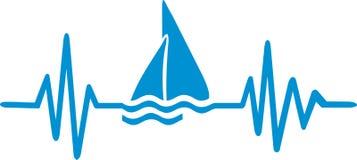 Linea di battito cardiaco di Sailingboat royalty illustrazione gratis
