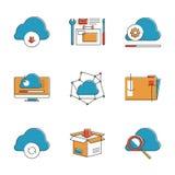 Linea di calcolo icone della nuvola messe Fotografia Stock