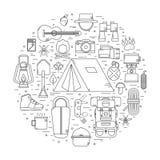 Linea di campeggio Art Vector Icons Immagini Stock