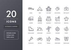 Linea di campeggio Iocns illustrazione di stock