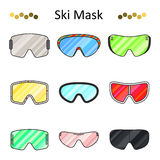 Linea di colore degli occhiali di protezione dello sci icona stabilita di vettore Fotografia Stock