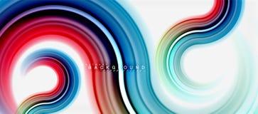 Linea di colore fluida dell'arcobaleno fondo dell'estratto - il turbinio ed i cerchi, colori liquidi torti progettano, marmo vari royalty illustrazione gratis