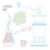 Linea di colore insieme di caffè Fotografia Stock