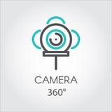 Linea di colore nuova fotocamera grande formato di tecnologia 3D dell'icona 360 gradi Fotografia Stock Libera da Diritti