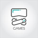 Linea di colore nuova realtà virtuale del gioco del dispositivo di tecnologia 3D dell'icona Immagini Stock Libere da Diritti