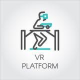 Linea di colore persona del dispositivo dell'icona su realtà virtuale della piattaforma del gioco Fotografia Stock