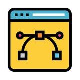 Linea di colore più bezier della pagina Web icona illustrazione di stock