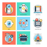 Linea di colore piana icone 24 di vettore di concetti di progetto Fotografie Stock