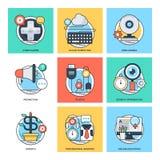 Linea di colore piana icone 28 di vettore di concetti di progetto Immagini Stock Libere da Diritti