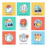 Linea di colore piana icone 3 di vettore di concetti di progetto royalty illustrazione gratis