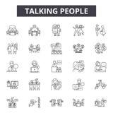 Linea di conversazione icone, segni, insieme di vettore, concetto lineare, illustrazione della gente del profilo illustrazione di stock