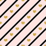Linea di cuori dell'oro modello senza cuciture Fotografia Stock Libera da Diritti
