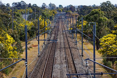 Linea di ferrovia campagna dell'australiano Fotografie Stock Libere da Diritti