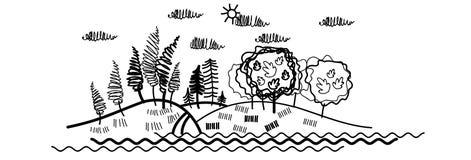 Linea di Forest Tree Woods Sketch Simple Fotografia Stock Libera da Diritti
