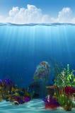 Linea di galleggiamento e priorità bassa subacquea Immagini Stock Libere da Diritti