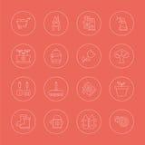 Linea di giardinaggio insieme dell'icona Immagini Stock Libere da Diritti