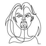 Linea di grido Art Portrait della donna una Espressione facciale femminile infelice Siluetta lineare disegnata a mano della donna Immagine Stock Libera da Diritti