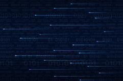 Linea di illuminazione con il codice binario del computer Fotografia Stock