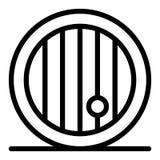 Linea di legno icona del barilotto di birra Barile dell'illustrazione di vettore della birra isolata su bianco Stile frontale del royalty illustrazione gratis