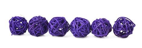 Linea di palle della paglia isolate Fotografia Stock Libera da Diritti