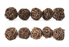 Linea di palle della paglia isolate Immagine Stock Libera da Diritti