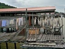Linea di pesca del Brunei lavanderia di clothsline Fotografie Stock Libere da Diritti