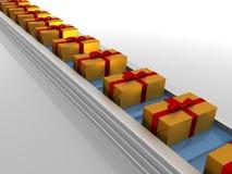Linea di produzione con i regali Immagine Stock