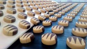 Linea di produzione dei biscotti di cottura, primo piano Biscotti in cioccolato sul trasportatore immagini stock libere da diritti